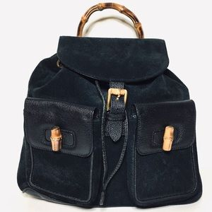 Auth GUCCI Bamboo Leather & Suede Backpack-Black